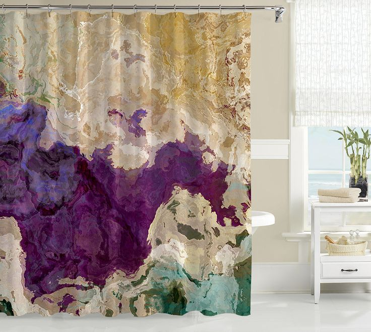 Abstract shower curtain, purple, cream and green shower curtain, art shower curtain, Plum Creek
