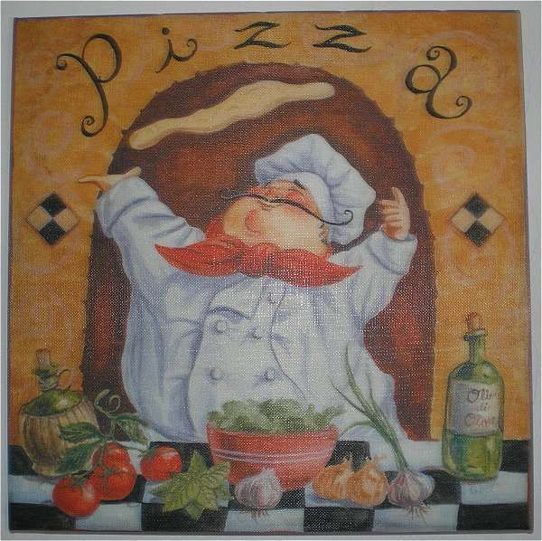 G allen fat chef pizza canvas wall art print home kitchen for Kitchen colors with white cabinets with fat chef wall art