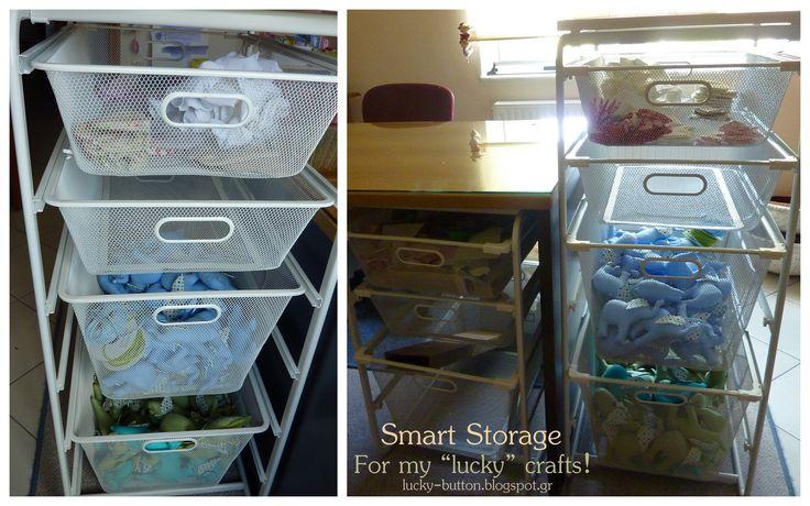 Αmazing idea for craft room is the sliding shelves, one beneath the workbench and one next to it for storage!