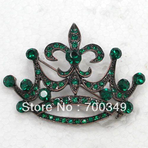 12 piece/lot изумруд кристалл горный хрусталь покрытие античная медь корона костюм булавка брошь свадьба ювелирные изделия C932 M