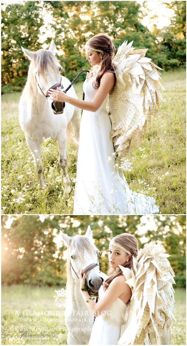 bridal vintage styled photo shoot with gypsy style and paper angel wings and white horse