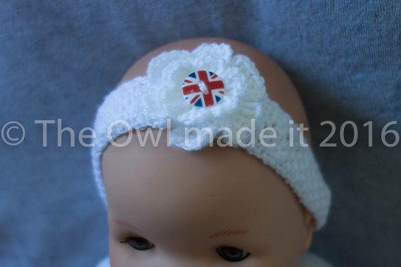 Union Jack baby headband baby girl headband by TheOwlmadeit