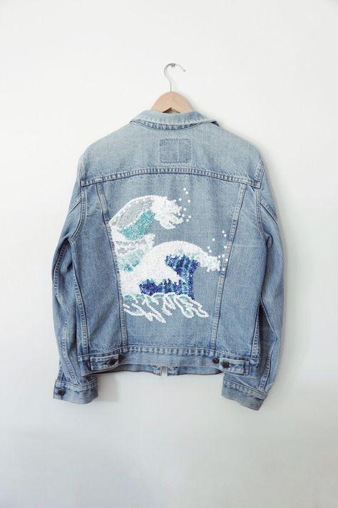 wave art + denim jacket