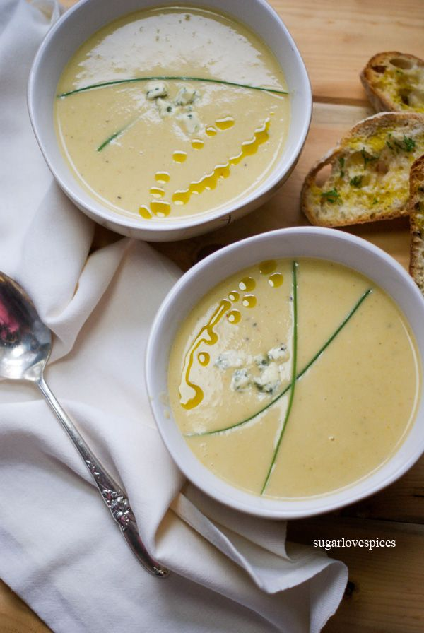 Romanesco Broccoli Soup with Blue Cheese and Chives
