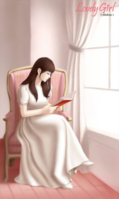 러블리걸(독서중)카카오톡 테마-멜로우J/Mellow J : 네이버 블로그