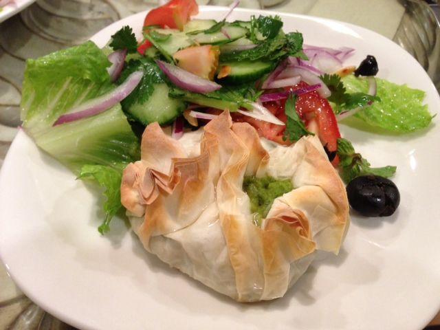 Spinach Feta Filo Parcels & Modern Greek Salad