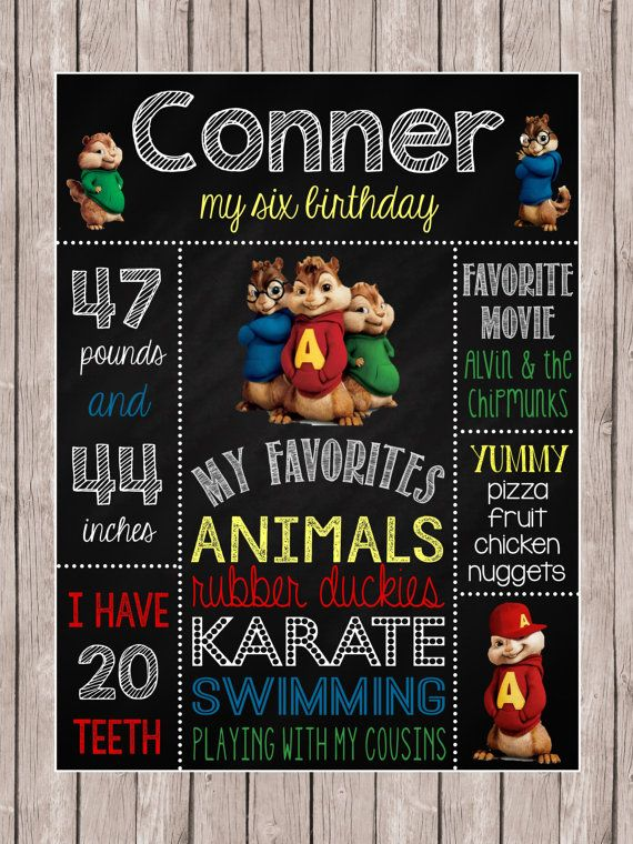Alvin & the Chipmunks Birthday Chalkboard Poster by MsThirdGrade, $17.00