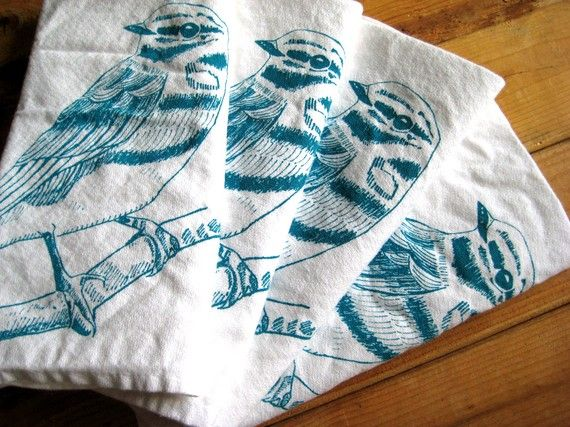 Screen Printed Organic Cotton Cloth Napkins  Eco by ohlittlerabbit