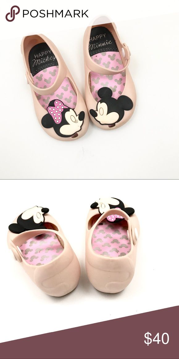 Disney Minnie Melissa jelly flats Kissing Micky and Minnie on these pink Mini Melissa jelly flats. These are in good used condition without damage but normal used wear. Mini Melissa Shoes Slippers