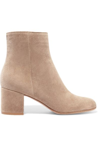 Gianvito Rossi - Suede Ankle Boots - Beige - IT35.5