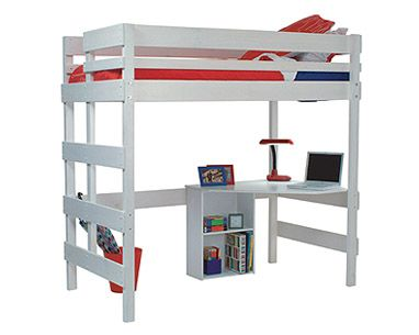 Loft bed with quad desk and pedestal shelf. The Loft Bed gives you even more space for desk and storage combinations. Not white...but too high??
