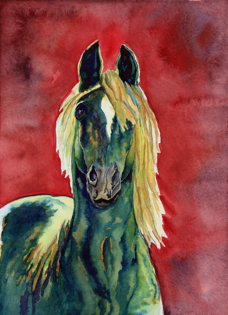 horse painting Steps Into Light giclee print of by NightSightArt