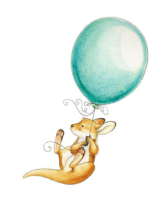 Watercolor Nursery Art. Kangaroo Watercolor Giclee by PosieMeadows