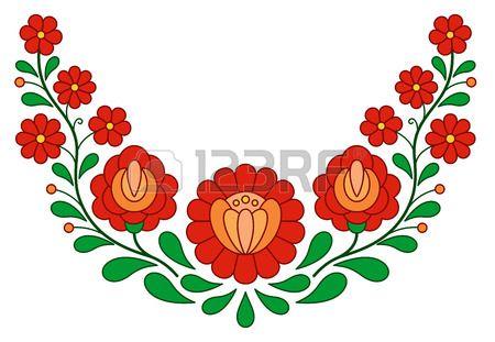 Motif de broderie folklorique traditionnelle hongroise isol sur blanc Banque d'images