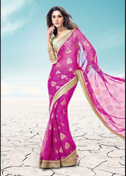 R Rajkumar Royal Magenta Chiffon Saree on US$ 40.24 On sale - ethnic-bargains.blogspot.co.uk/2014/02/price-drop-r-rajkumar-royal-magenta.html