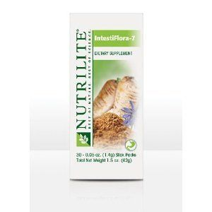 NUTRILITE® INTESTIFLORA 7 - 30 Stick Packs by NUTRILITE.  NUTRILITE INTESTIFLORA 7 delivers a concentrated blend of live probiotic cultures and the prebiotics that encourage their growth. Daily use can aid in the digestion of dairy products and help relieve occasional minor diarrhea that may result from changes in diet, eating habits, or stress.