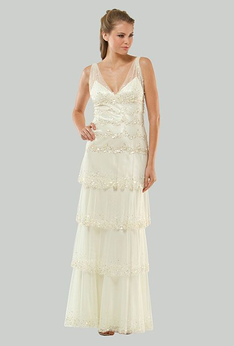Brides.com: Get the Look: Kate Moss's Wedding Dress. Style MB-106, $578, Mignon