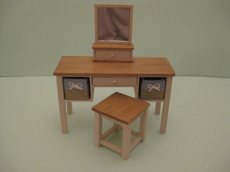12th Scale Handmade Dolls House Furniture - Dressing Table, Stool & Mirror | eBay