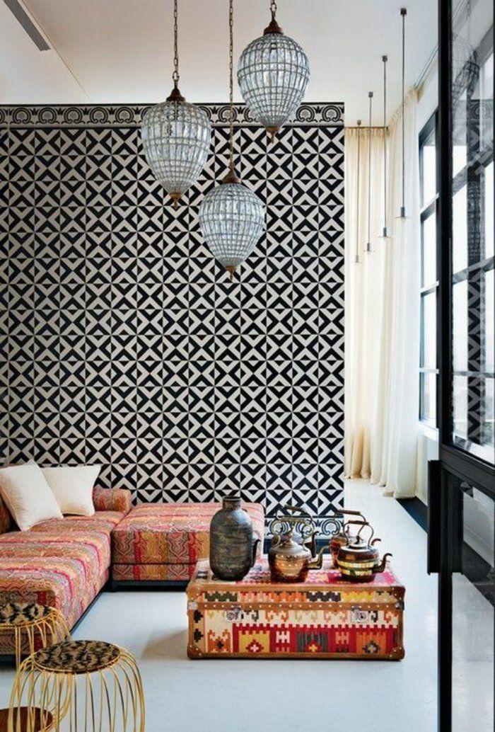 Tapeten Ideen Wohnzimmer Ecksofa Pendelleuchten Beistelltische