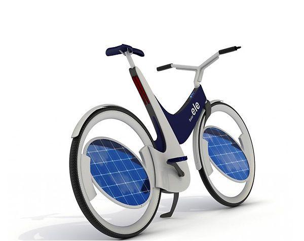 E-V Sunny Bicycle, que no sólo luce como una verdadera bicicleta profesional sino que además tiene la novedad de ser impulsada un cien por ciento por energia solar. Los paneles solares se ubican en las ruedas.
