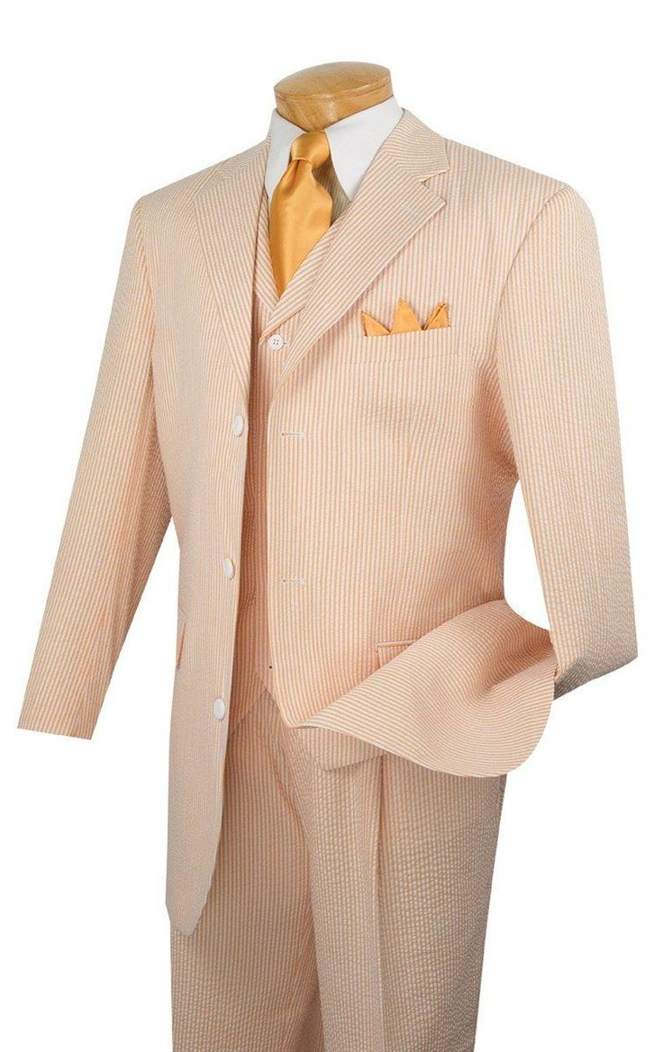 PEACH MEN'S FASHION SUITS 3 PCS CLASSIC FIT SUITS VEST PANTS