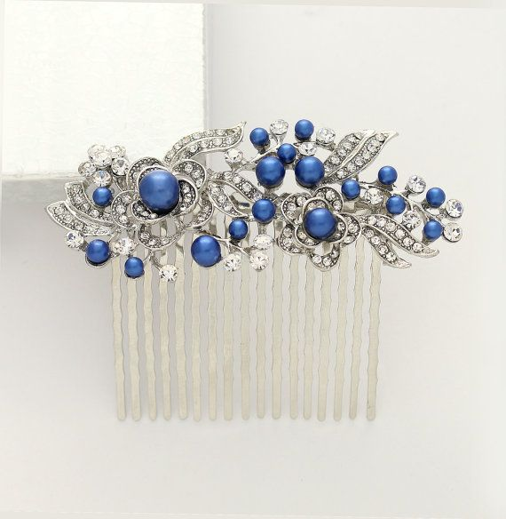 Something Blue Hair Comb Royal Blue Bridal Comb by BestForBrides