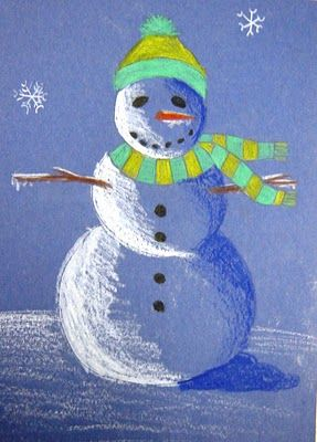 It's a nice colored pencil/ shading/ teaching VALUE lesson. Medium blue construction paper is used for background, and color is added with a darker shade of blue for the shadow side and white for the lit side. Students can choose any colors for accessories and snowflakes can be added in the sky.
