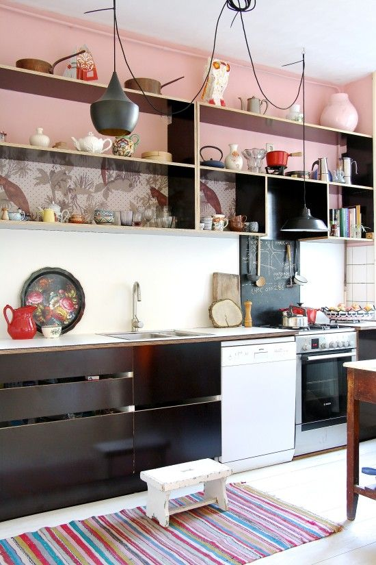 Eclectic Cool In Amsterdam   Kitchen Pink, Red, Black