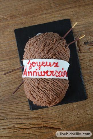 Gâteau en pelotte de laine - knitting wool cake - Glace