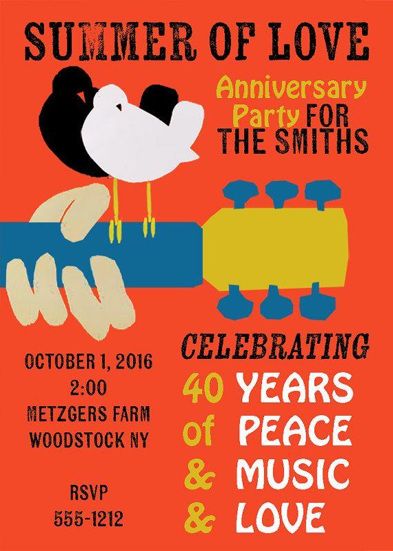 Woodstock Hippie Inspired Customizable Invitation for Bohemian