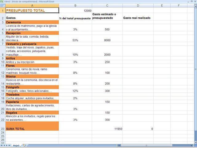 ¿Cómo hacer una plantilla sencilla del presupuesto de una boda?: Aspectos preliminares
