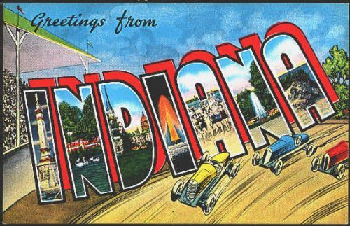 1940s Large Letter Greetings from  Indiana State Vintage Postcard