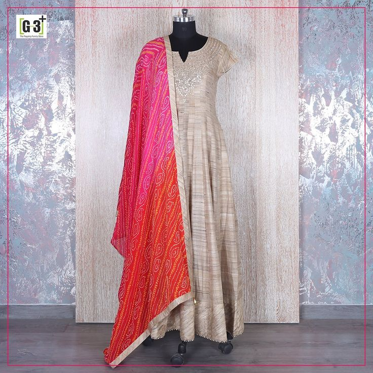 Silk Beige Anarkali dress in a Complementary theme of Solid Plain & Bandhani Dupatta adding Indian ethnic Vibes.
