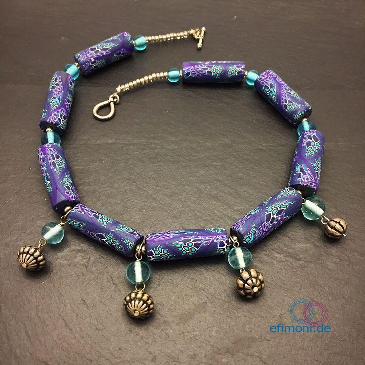 Ein persönlicher Favorit aus meinem Etsy-Shop https://www.etsy.com/de/listing/261409058/kunstler-halskette-indian-style-polymer