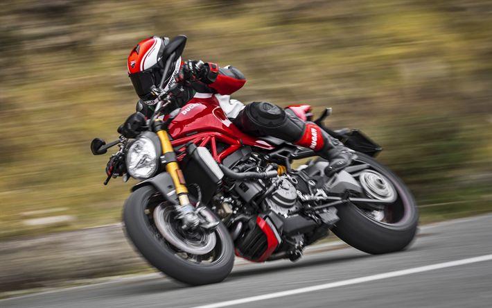 Lataa kuva Ducati Monster 1200 S, ratsastaja, 2017 polkupyörää, liikkeen, italian moottoripyörät, Ducati