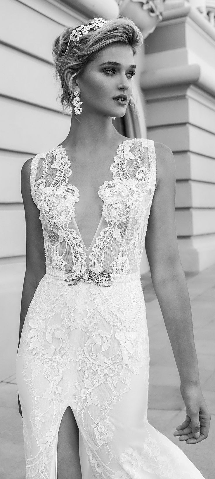 Stunning! BRIANNA by Alessandra Rinaudo features an eye-catching deep V-neck lace bodice. #AR_2017Collection #AlessandraRinaudo #bridal #wedding #ad #weddingdress #lace #romantic