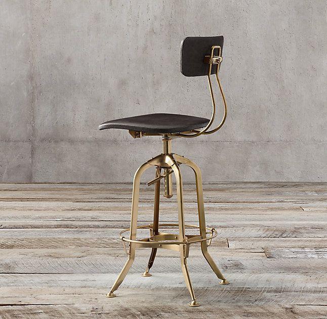 vintage toledo leather bar chair