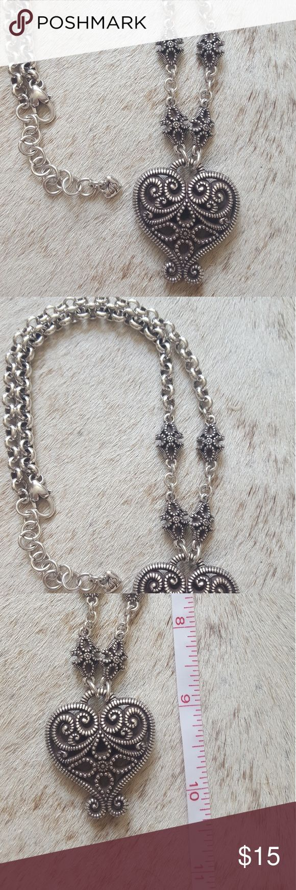 Silver heart necklace Very pretty, worn once. Love the chair but I'm not into hearts any longer.  Looks like Brighton. Jewelry Necklaces