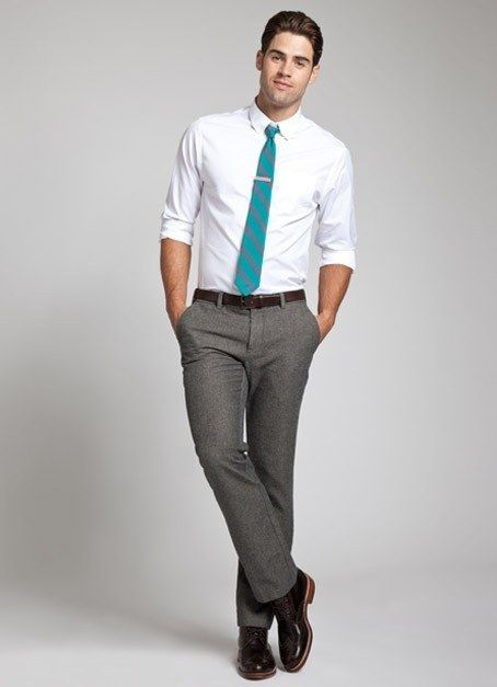 White Shirt Grey Pants Blue Tie Not This Color Since