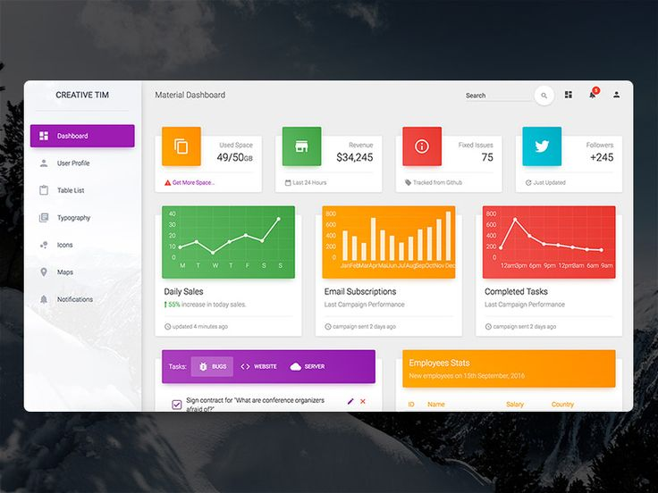 Material Dashboard: Free Bootstrap Material Admin with a fresh, new design inspired by Google's Material Design.