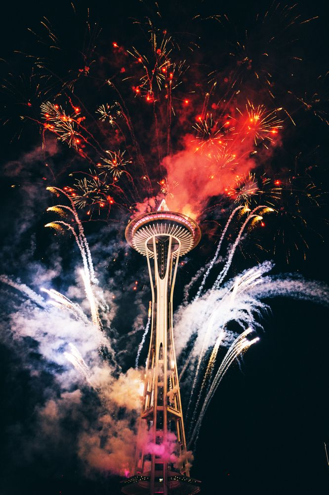 Seattle Space Needle Celebration Art Print by SeattleArt