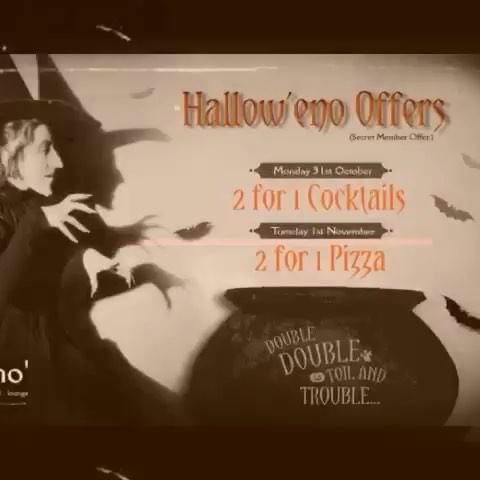 Check your inbox if you dare.....our 2 for 1 offer on Pizzas and Cocktails offer awaits you..🎃☠ Remember you must follow the link to register for the coupon and show it to your waiter to avail of our fang-tastic Hallow'eno offers this weekend. 🖥  Not on our VIP mailing list? Follow this link to sign up now! Don't miss out!!! http://eepurl.com/mR9ZD 🆒  Happy Hallow'eno 🎃 . . . #Halloween #EatatEno #MidTerm #LouthChat #cocktails #tapas #specialoffer #vip