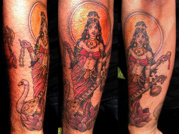 goddess saraswati tattoo 25 Remarkable Hindu Tattoos
