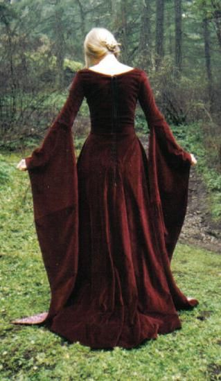 Burgundy velvet 12th century gown