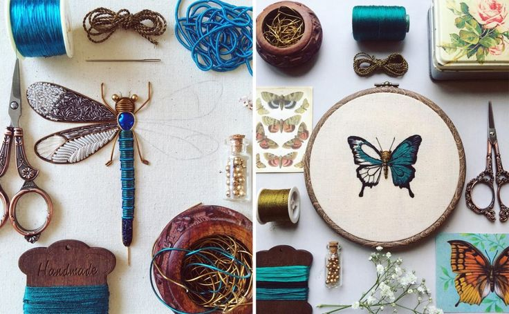 Shimmering Metallic Embroideries of Dragonflies and Other Insects by Humayrah Bint Altaf | Colossal