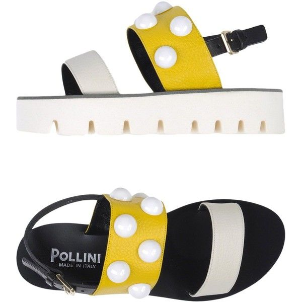 Pollini Sandals ($200) ❤ liked on Polyvore featuring shoes, sandals, yellow, multi color wedge sandals, colorful shoes, yellow wedge shoes, colorful sandals and multi coloured shoes