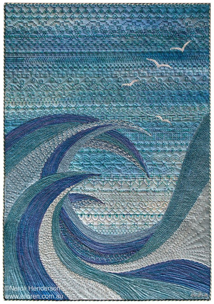 'The Churning' by Neroli Henderson.  Art Quilts Around the World, monochromatic challenge