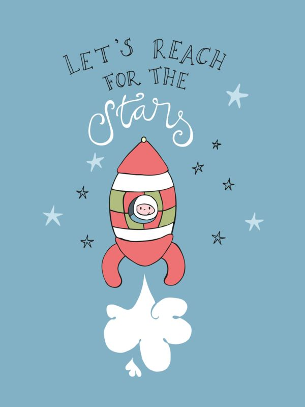 Ansichtkaart Let's reach for the stars Ansichtkaart met illustratie van een raket en quote Let's reach for the stars
