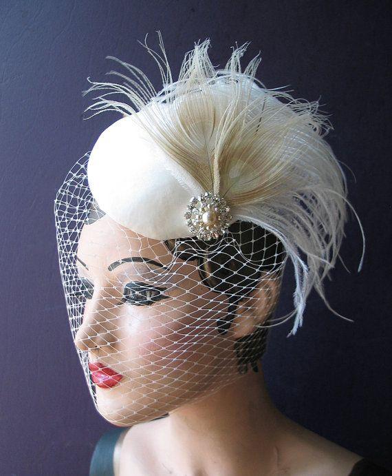 Weddings Ivory Birdcage Veil Bridal Hat White by BatcakesCouture, $145.00