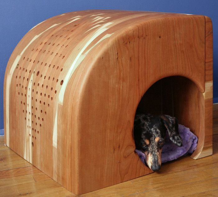 solid wood dog house is hand-built by Brooklyn-based designer Carlota Figueras